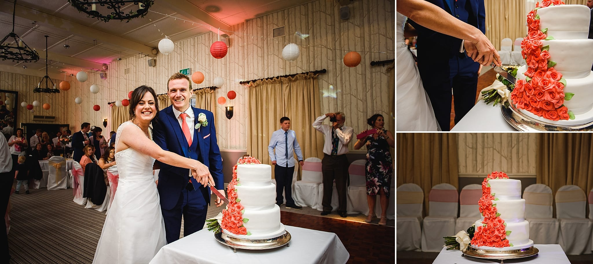 Bride and groom cut their wedding cake at the Hare and Hounds wedding venue