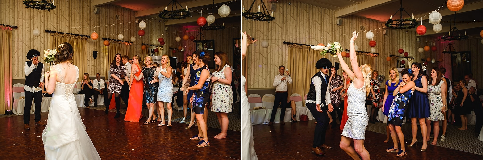Bride throws bouquet of flowers to her female guests on the dance floor of the Hare and hounds wedding venue