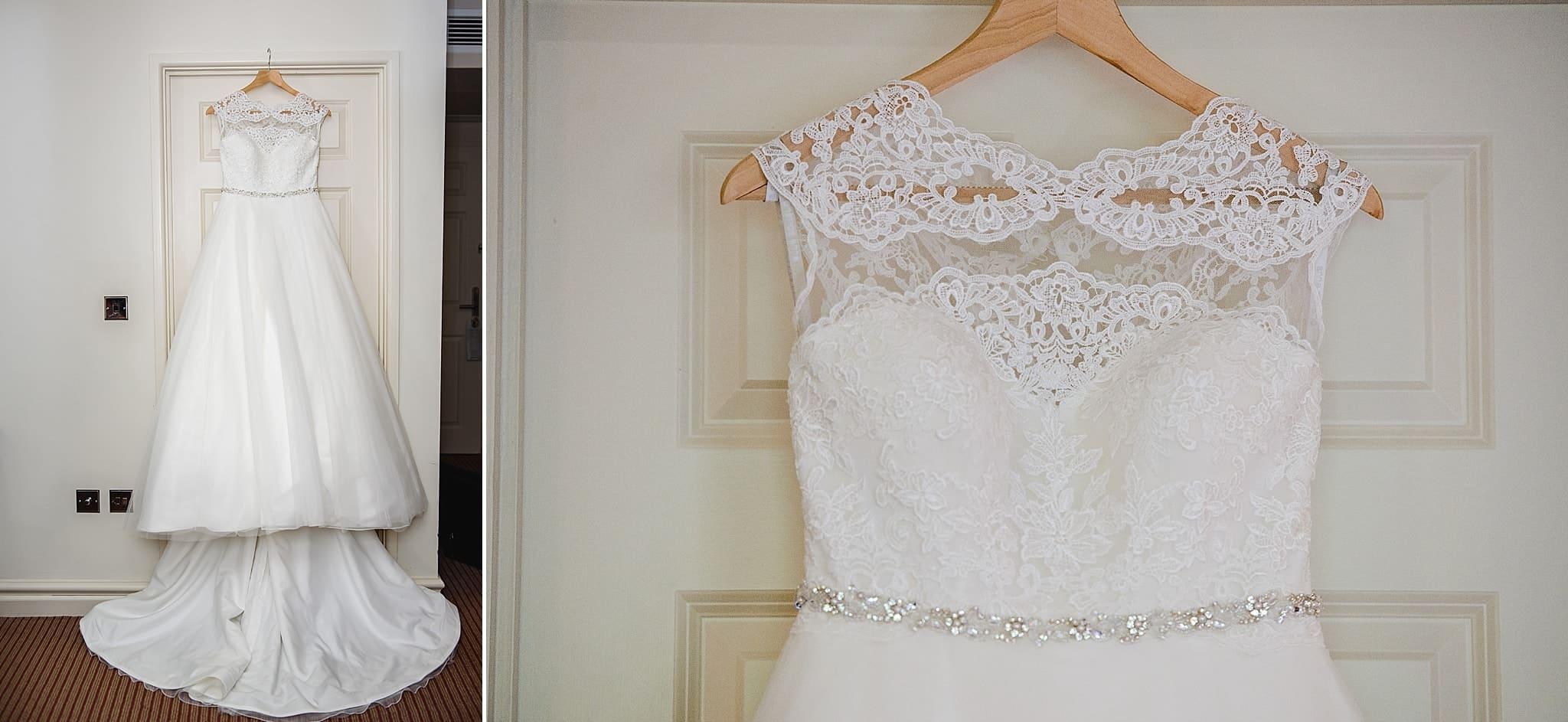 The wedding dress hung up