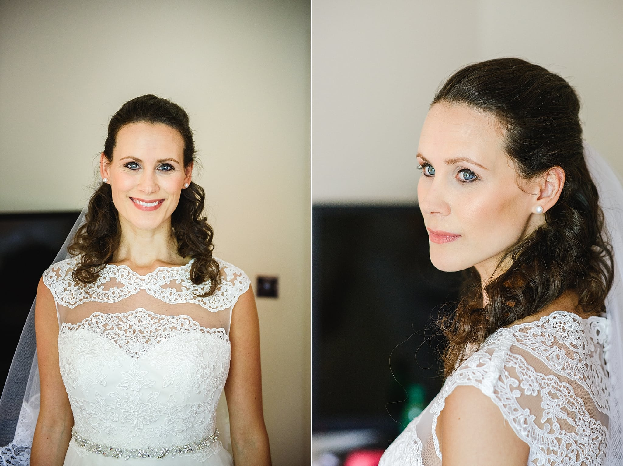 Bride poses before leaving for her wedding
