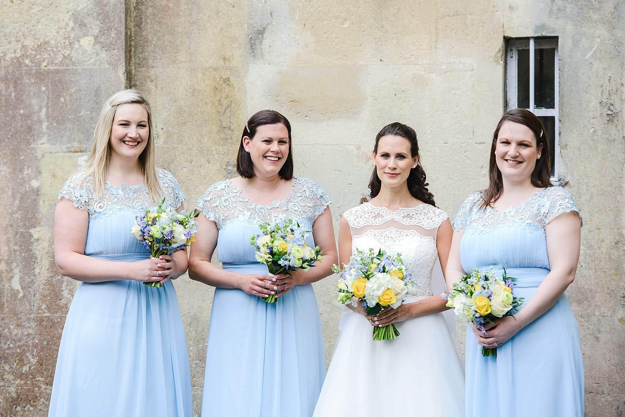 Bridesmaids pose outside of Bailbrrok House