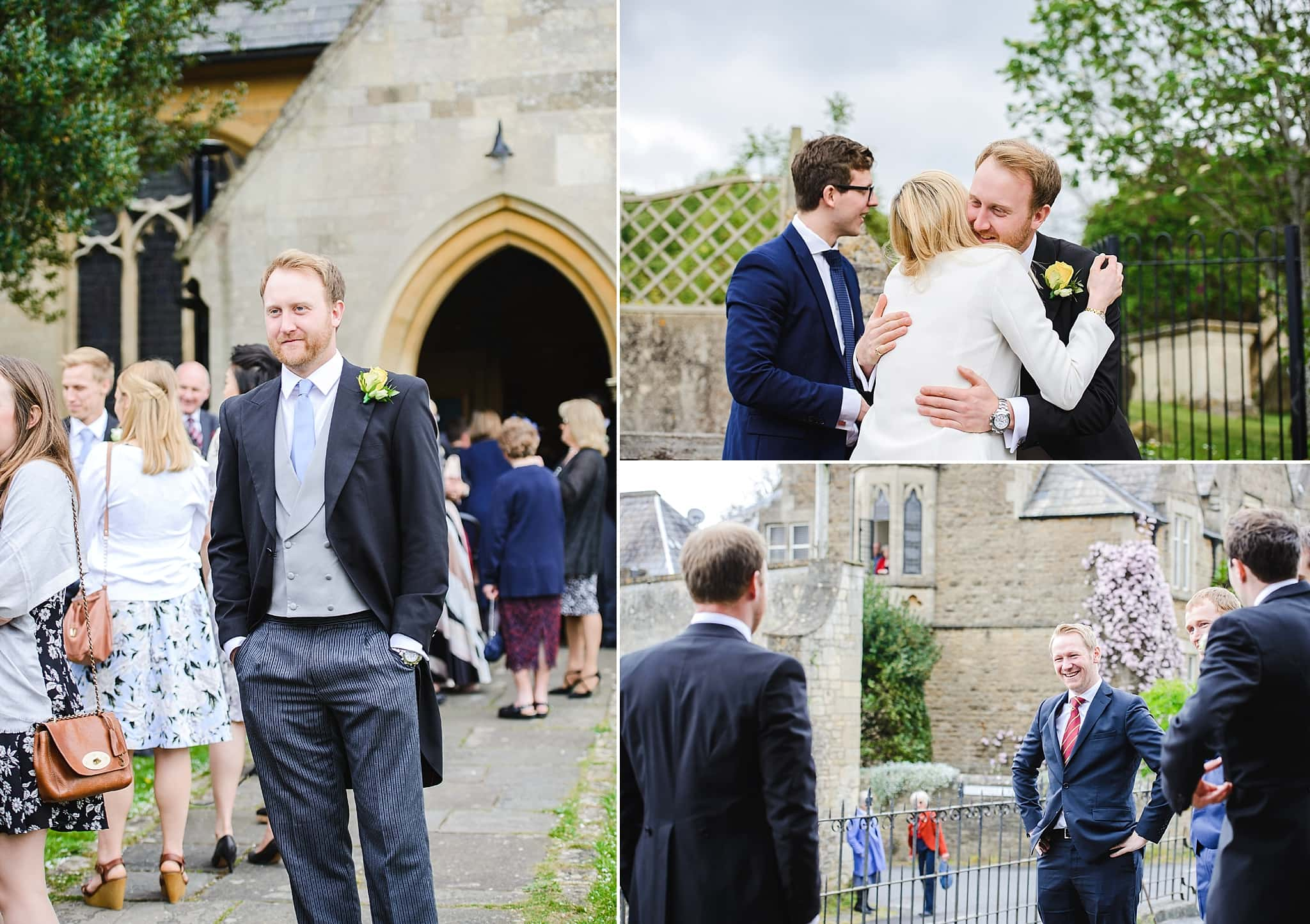 Groom stood outside of St Swithins church, Bathford