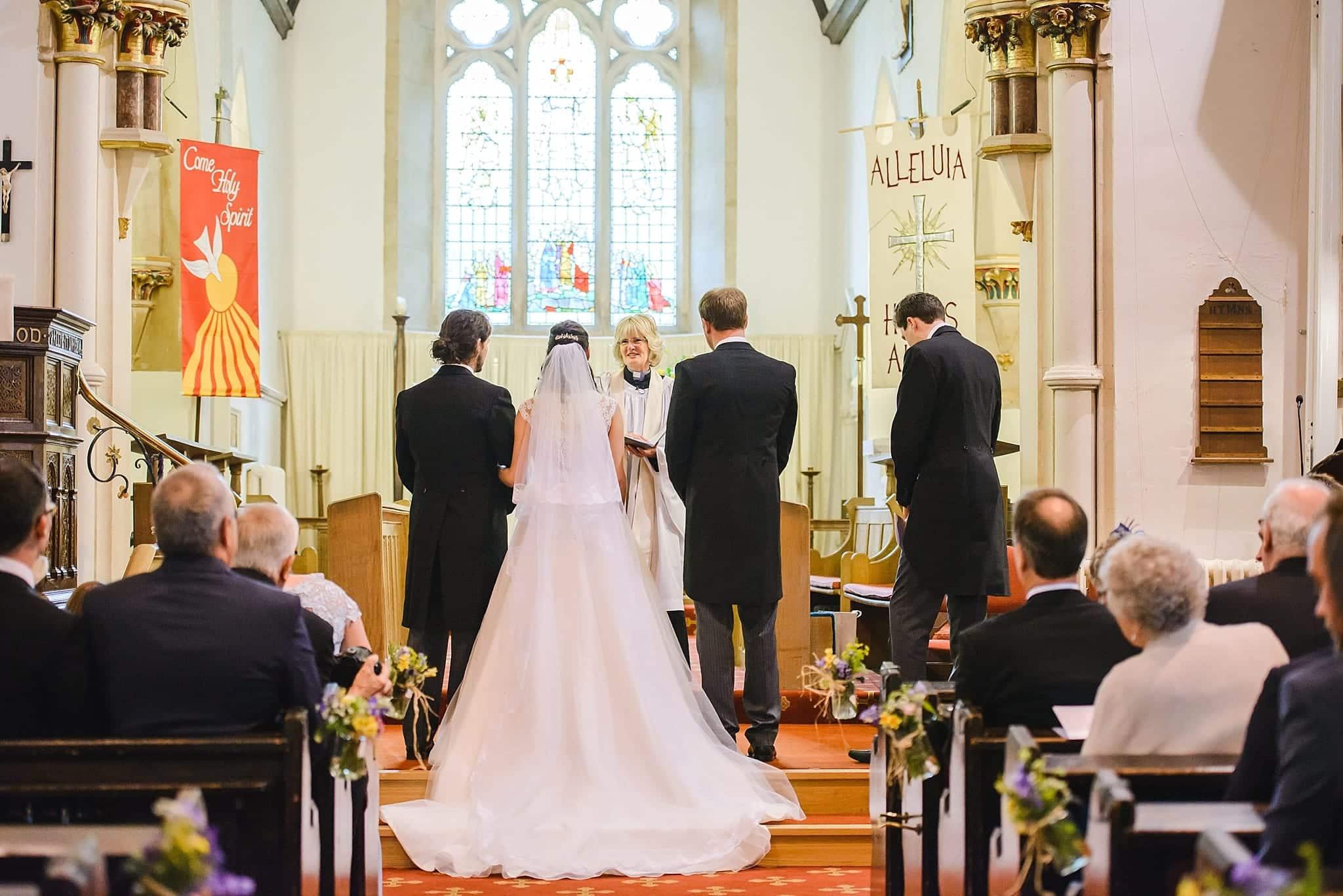 wedding service at St Swithins church, Bathford