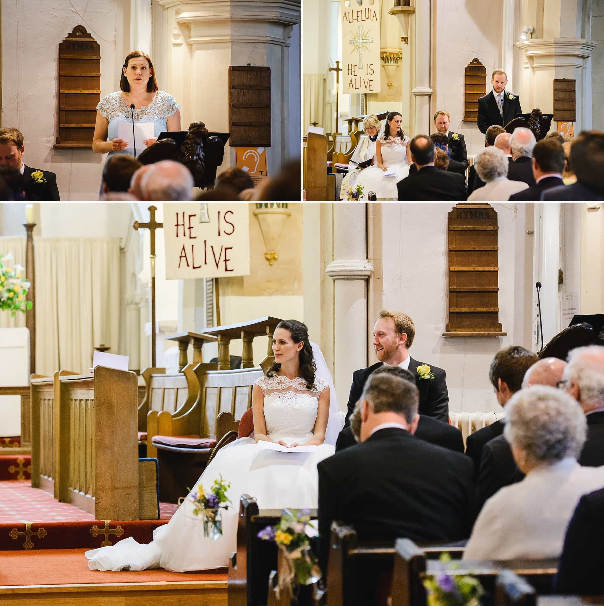 wedding readings during a wedding service at St Swithins church, Bathford