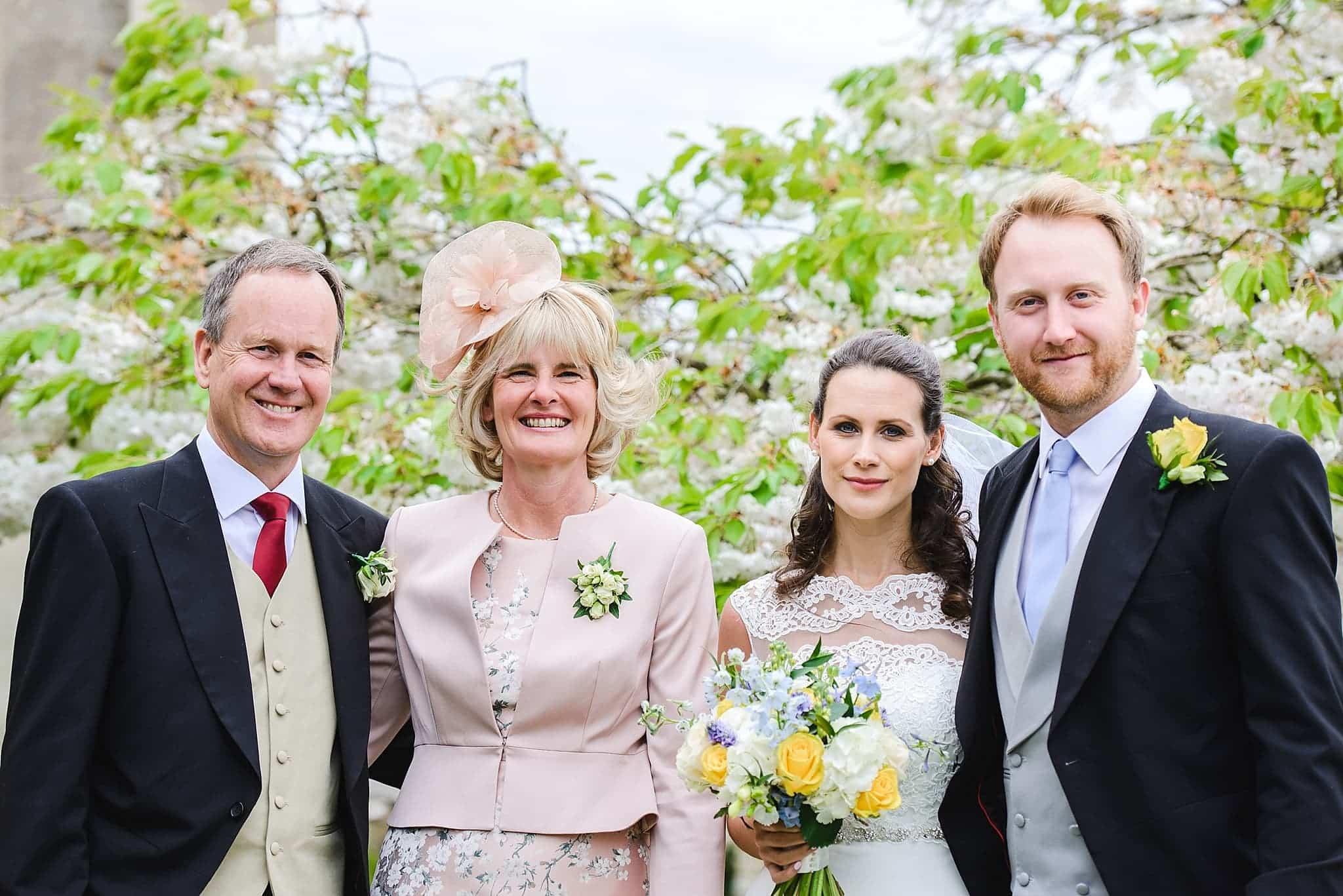 Family formals outside St Swithins church, Bathford