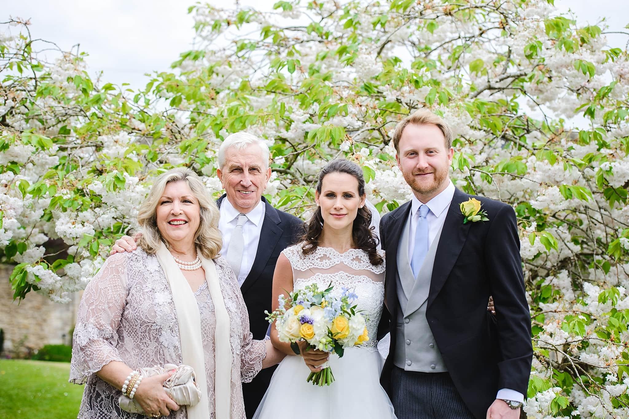 Family group photo outside St Swithins church, Bathford