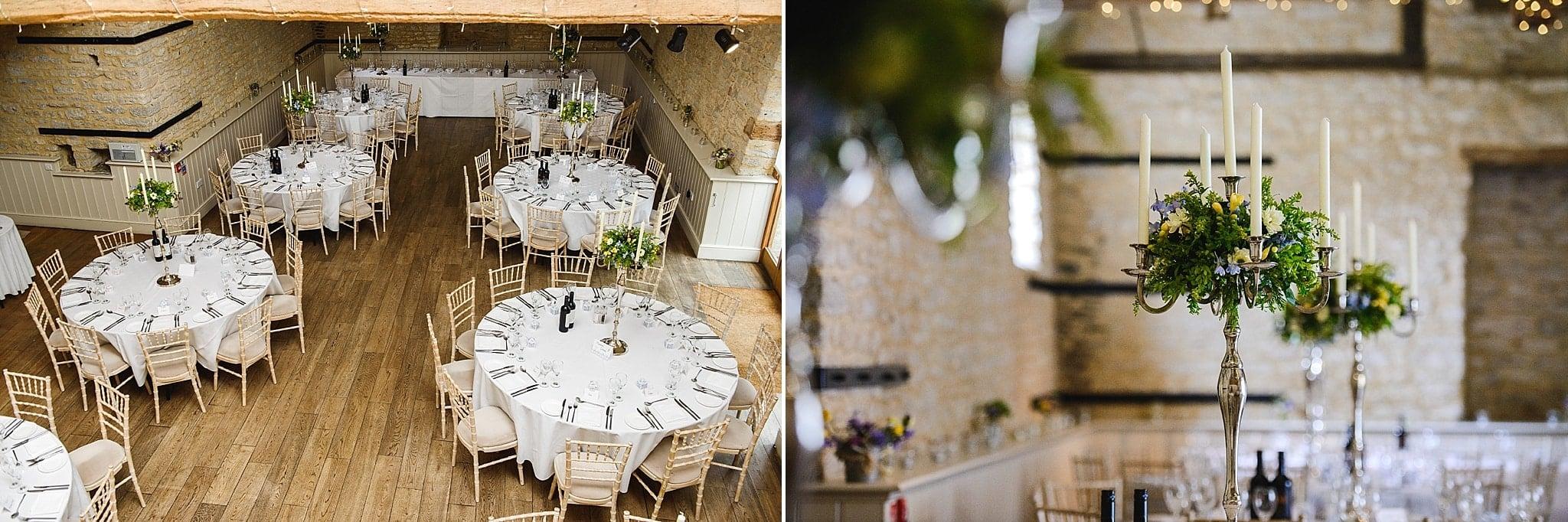 Wedding tables dressed for a wedding at Wick Farm, Bath