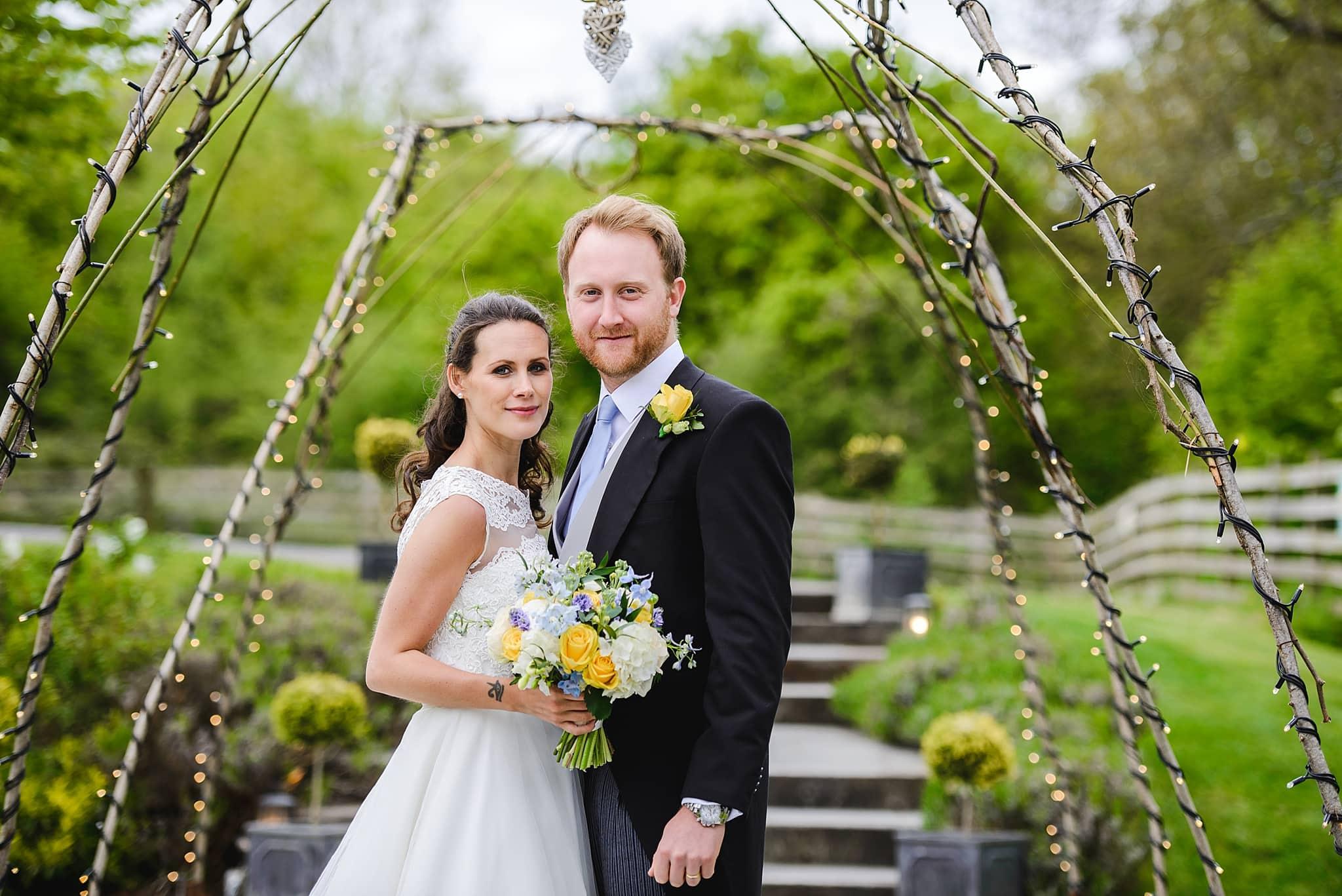 Wedding couple in the garden of Wick Farm