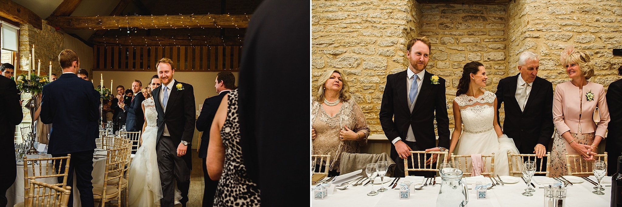 Photo of the wedding party stood at the tables inside Wick farm