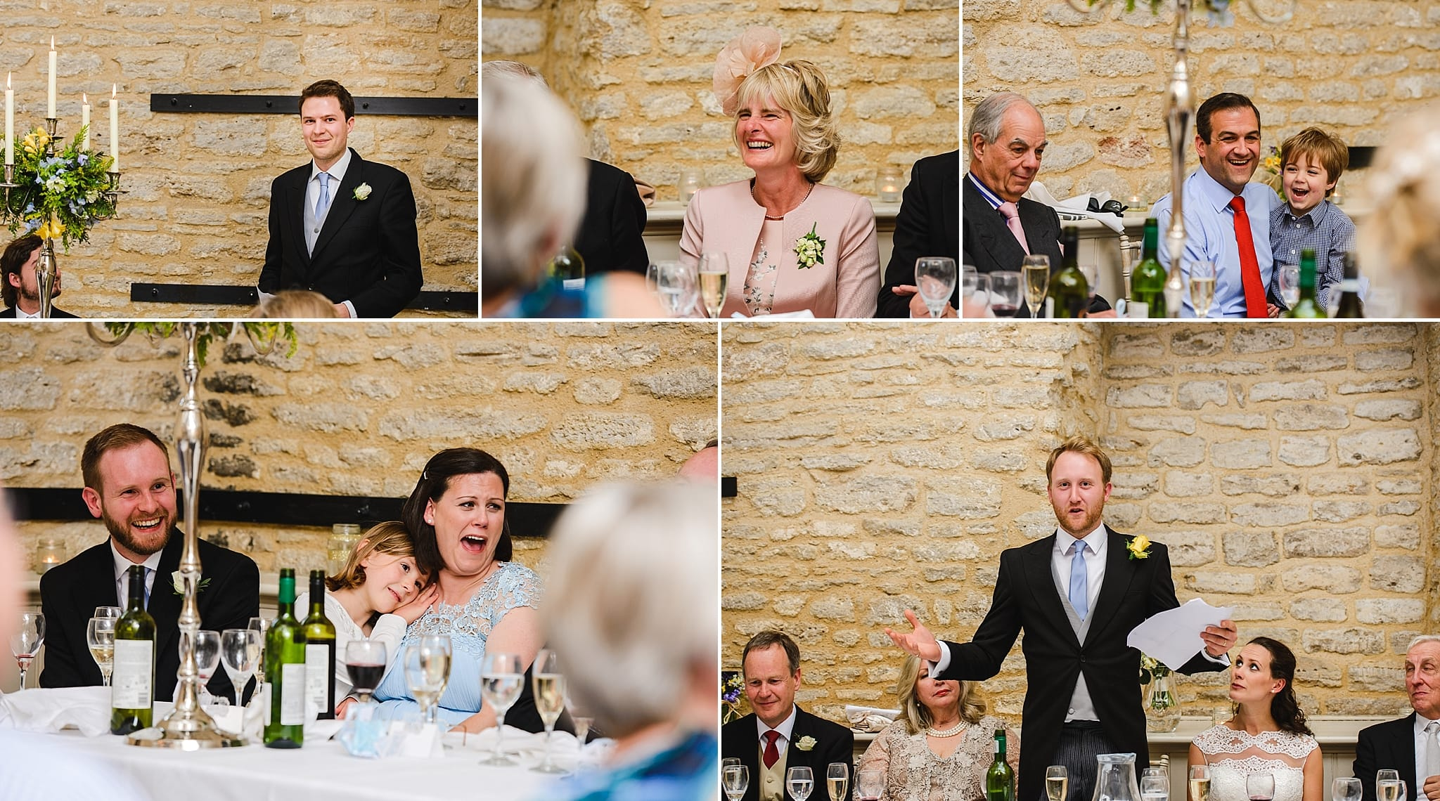 Guests laughing during wedding speeches at Wick Farm
