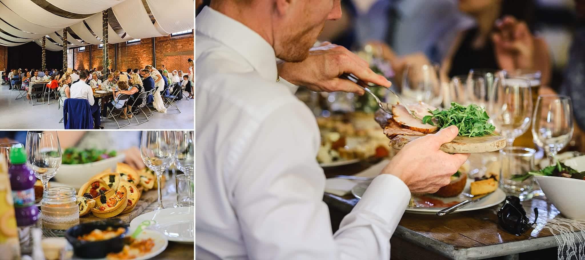 Picnic style buffet wedding food