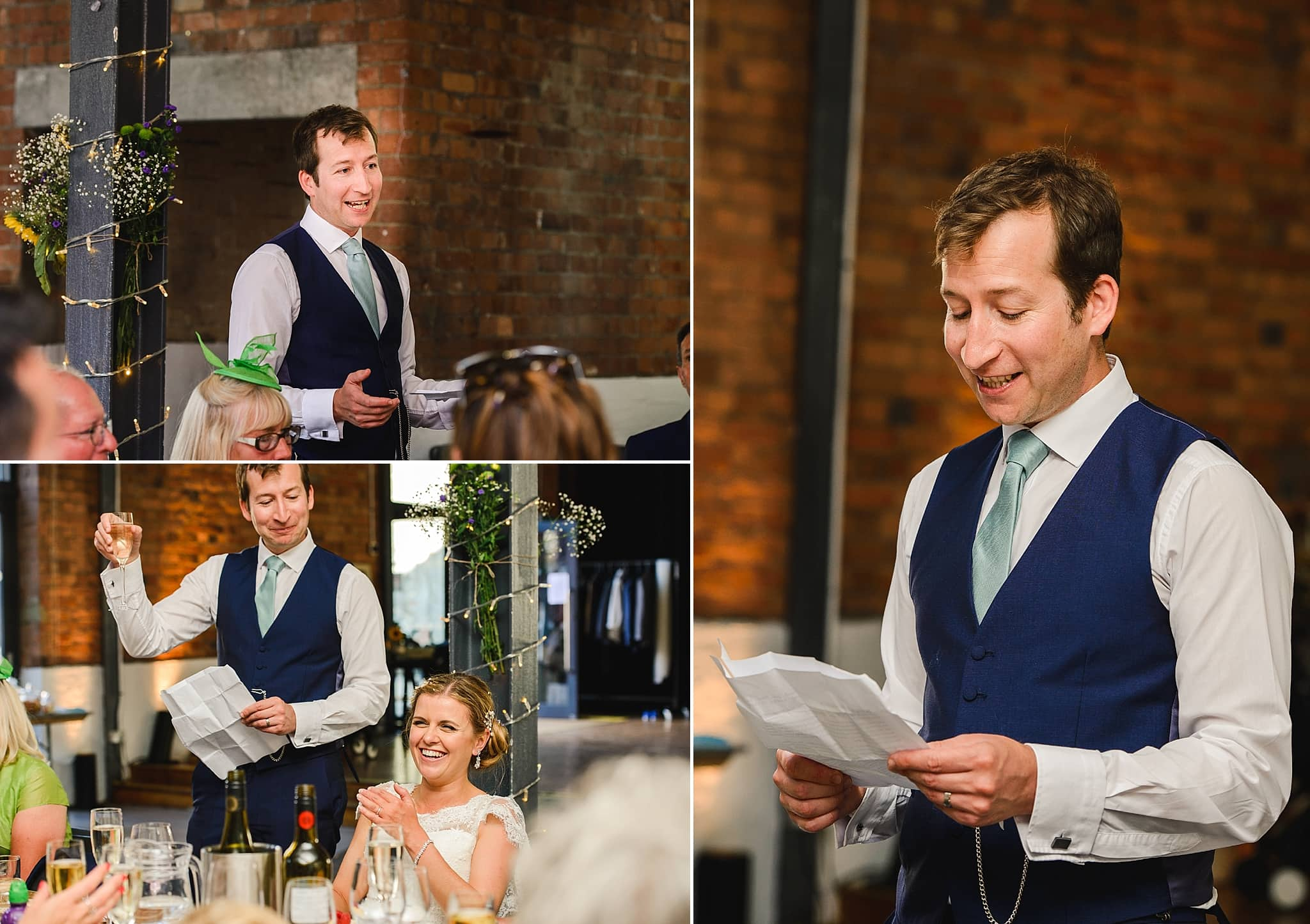 The groom reading out his speech in front of his wedding guests at the Paintwork's Bristol wedding