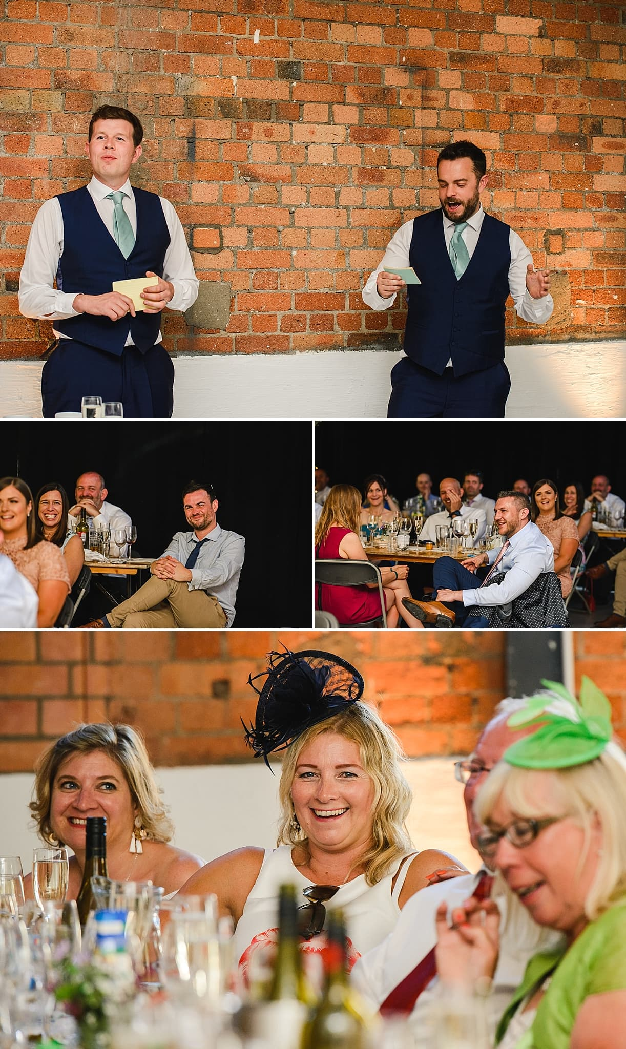 Best men read out speech to laughing guests at a wedding in the Paintwork's Bristol