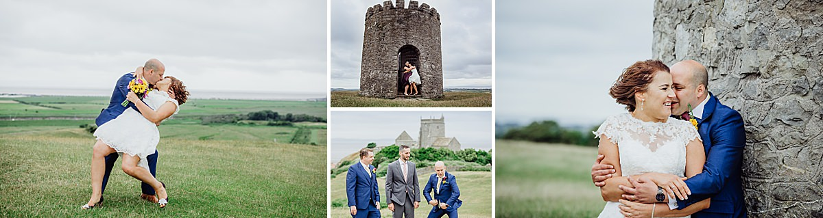 collage of fun wedding photos taken in Weston Super Mare at Uphill nature reserve