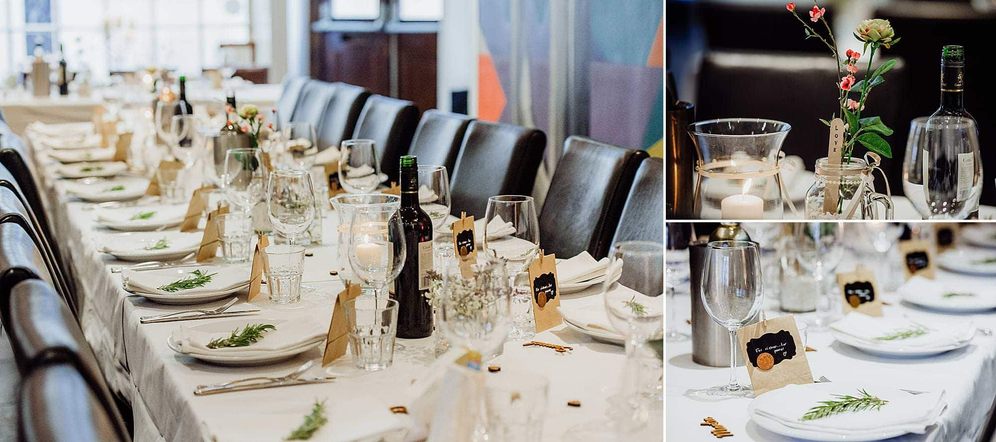 photos of the decorated tables for a wedding reception at the Rummer hotel Bristol