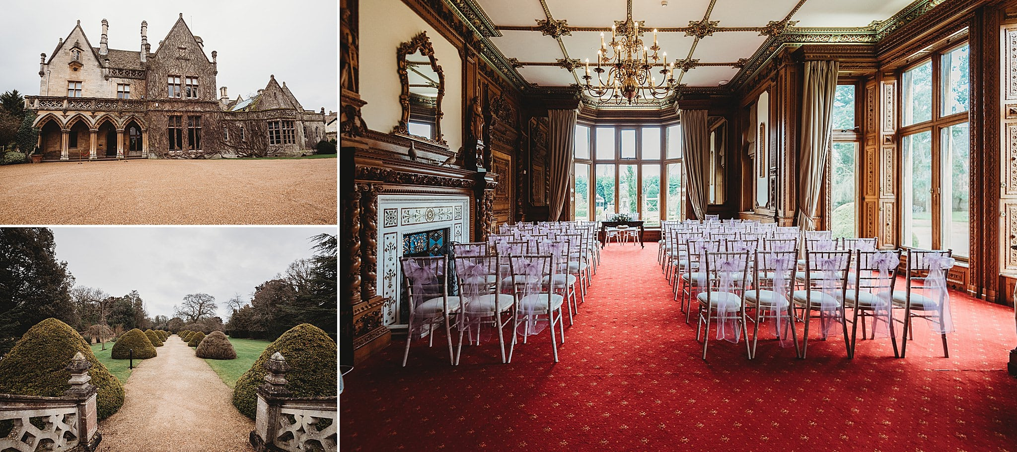A collage of images of Manor by the lake wedding venue showing the outside of the building, the grounds and the inside all set up for a wedding with chairs for the guests