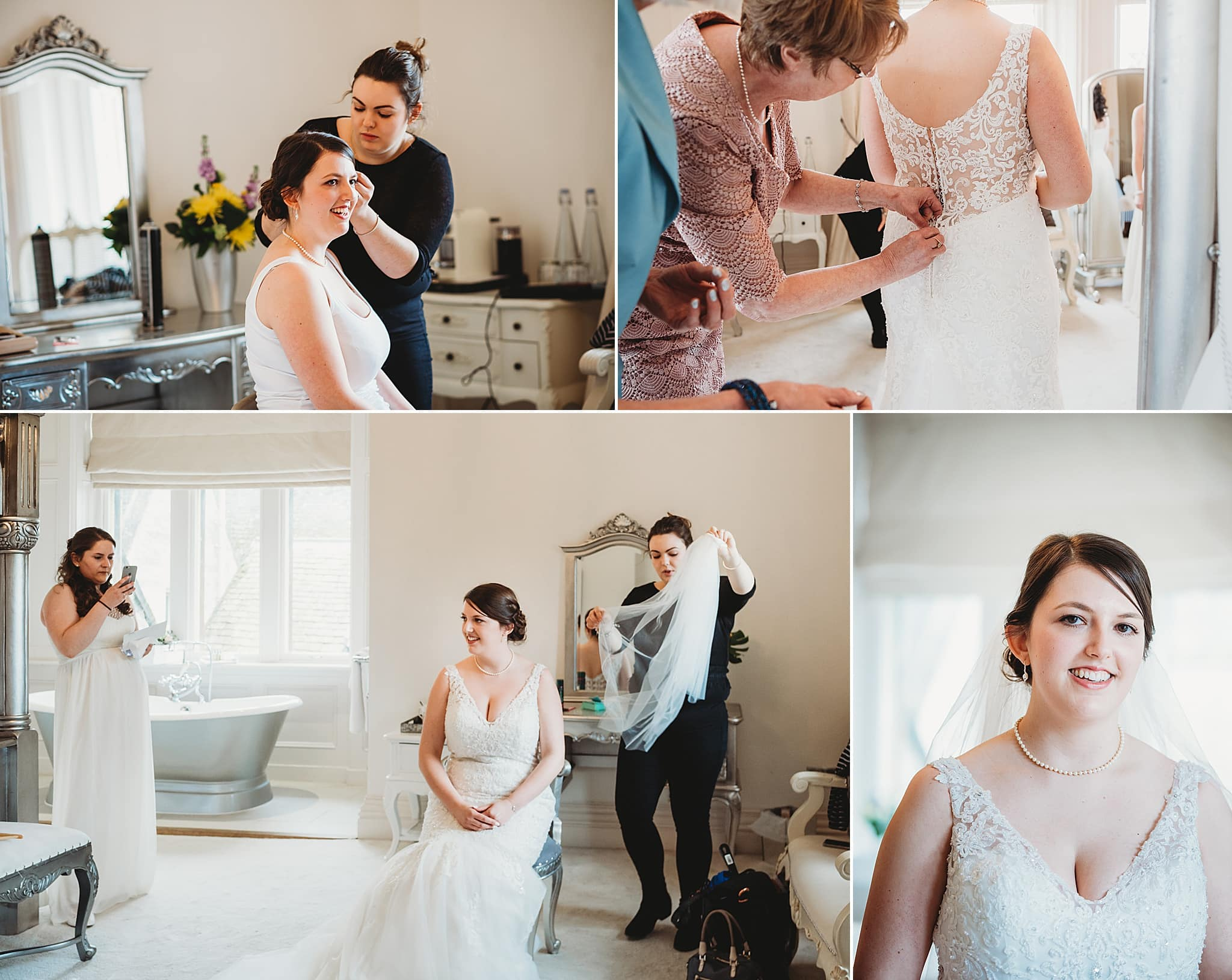 Bride getting ready in the bridal suite at Manor by the lake