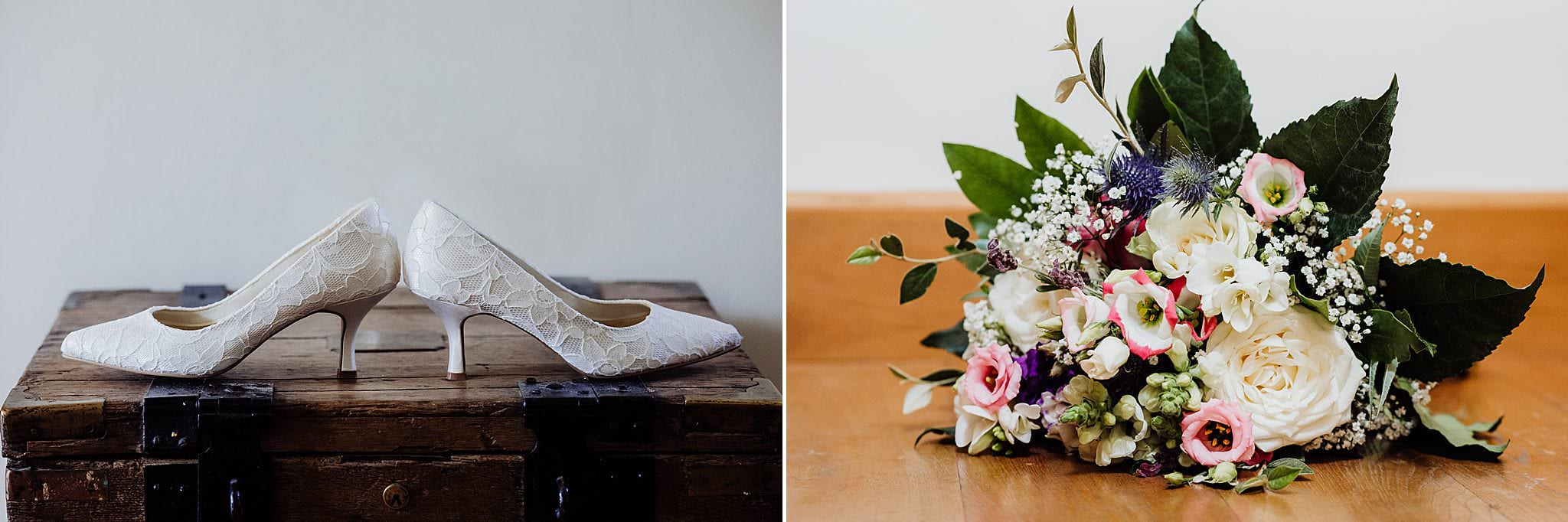 White bridal high heels shoes with wedding bouquet
