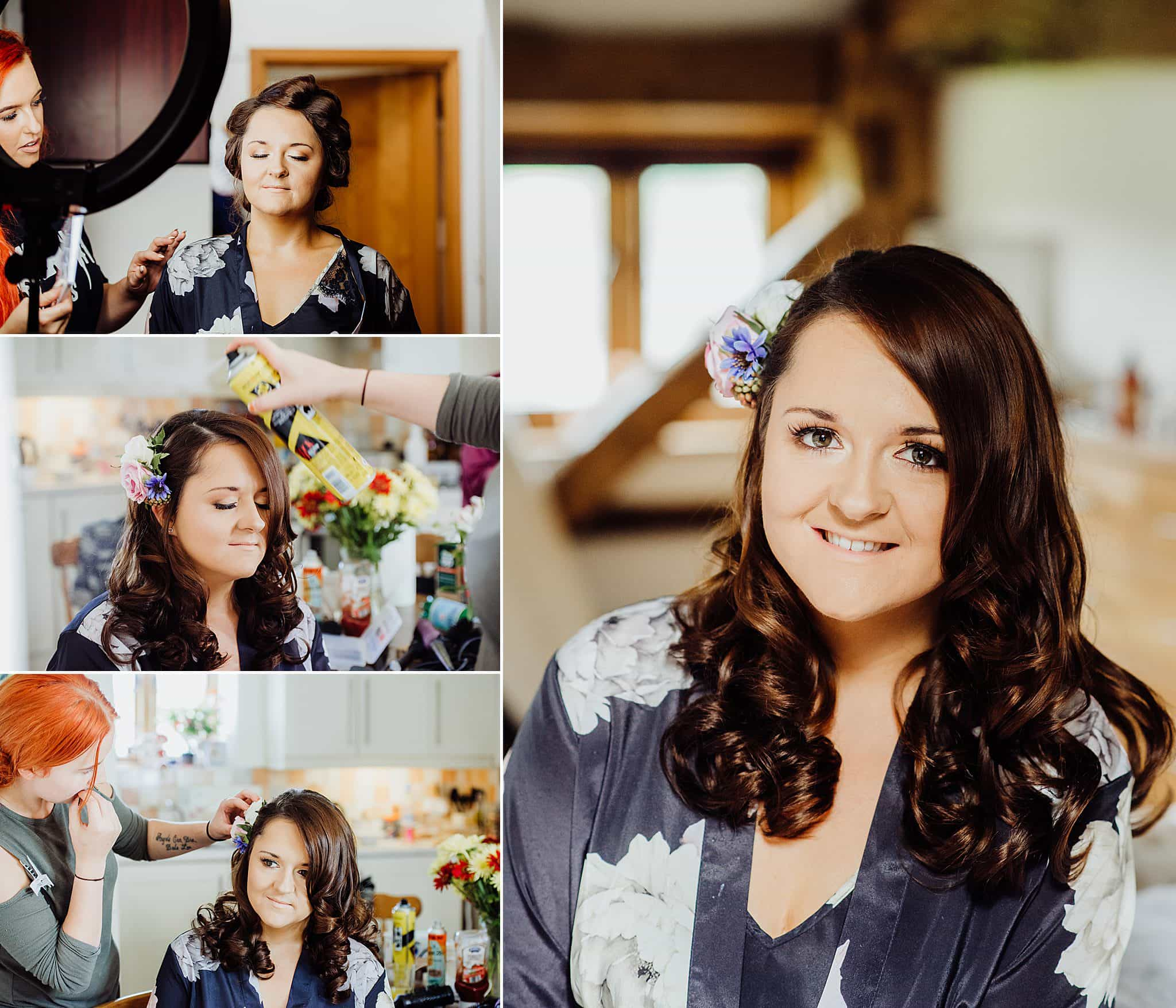 collage of photos of the bride having her hair done on her wedding day showing the different stages