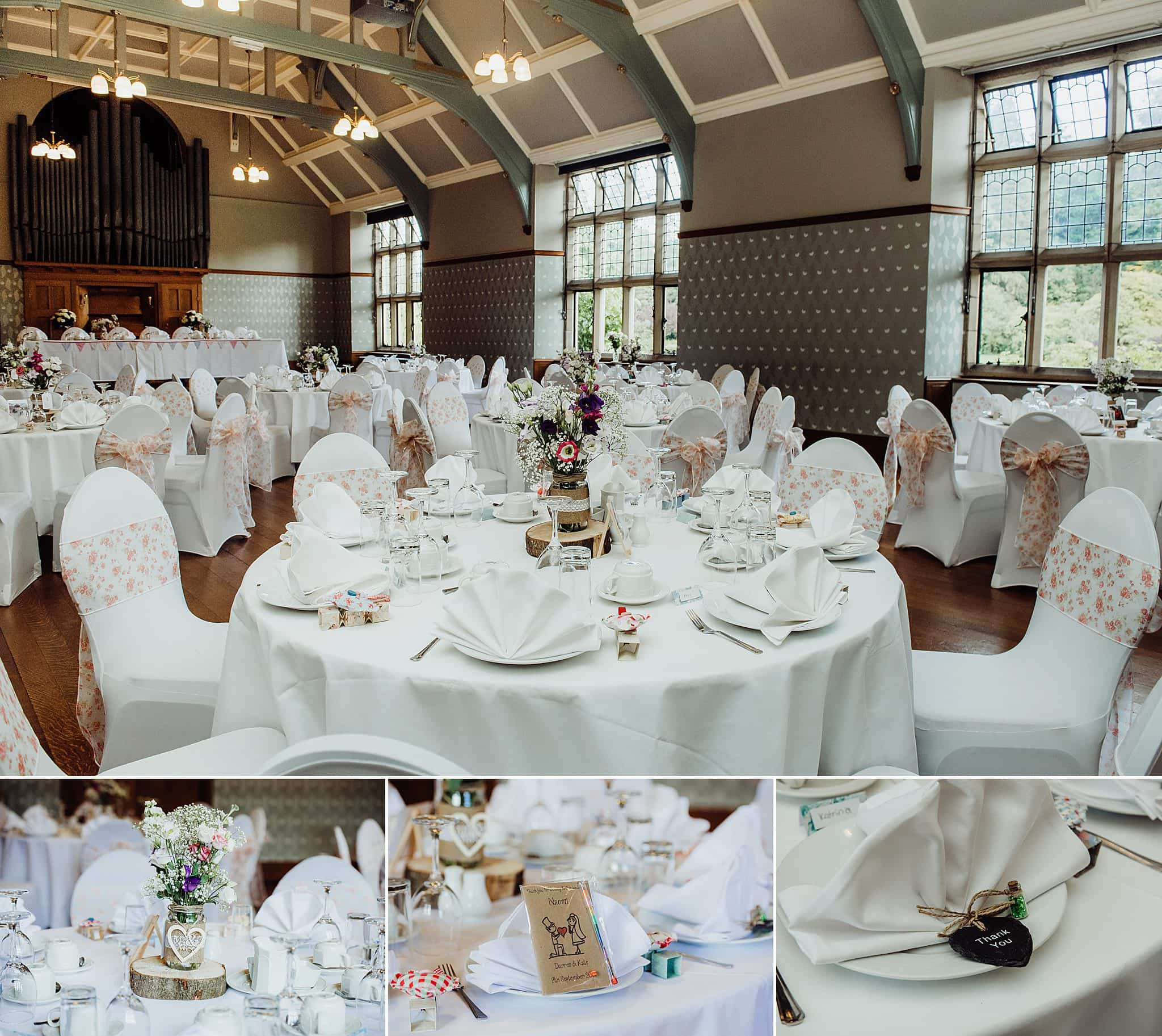 Tables set up for wedding breakfast at Gregnog Hall