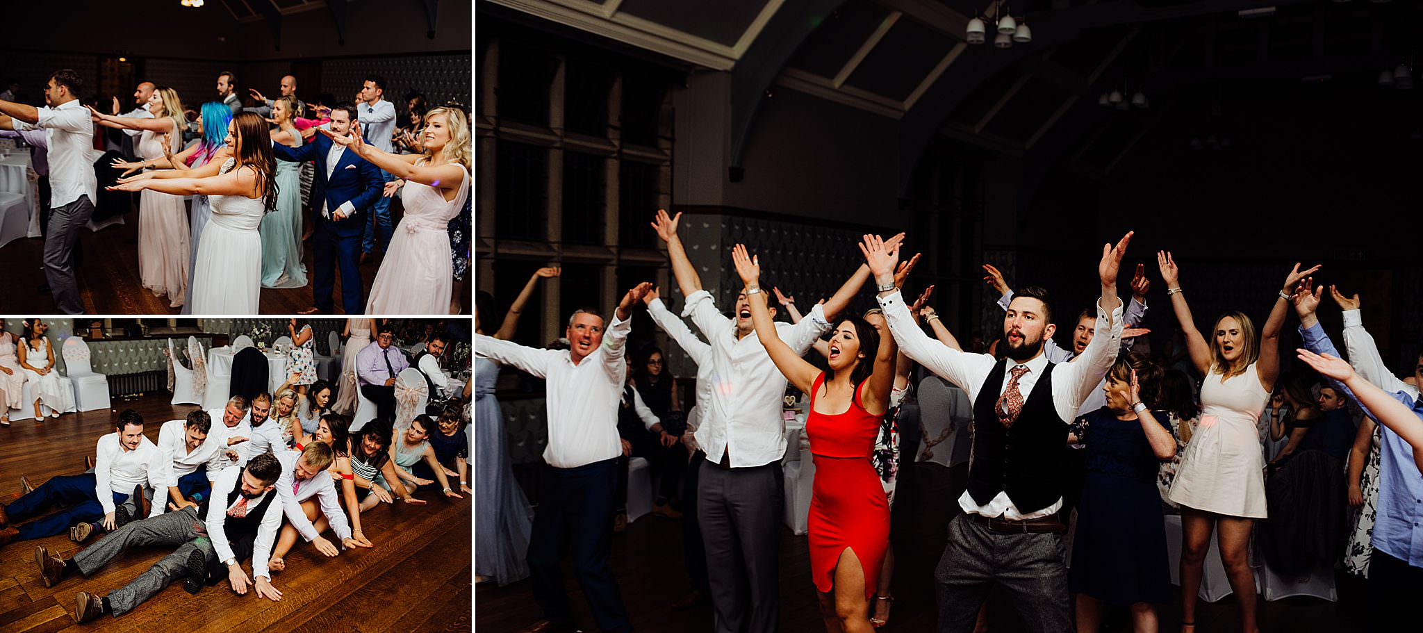 Wedding guests dancing to music at a wedding reception evening do at Gregnog Hall