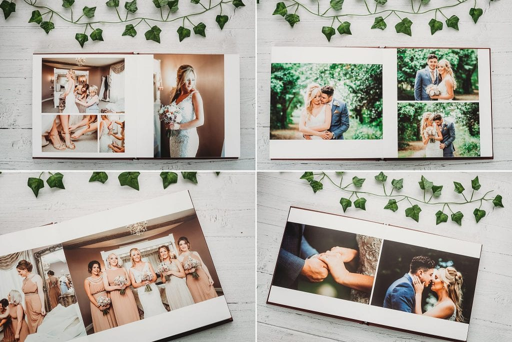 Collage of a wedding album with open pages