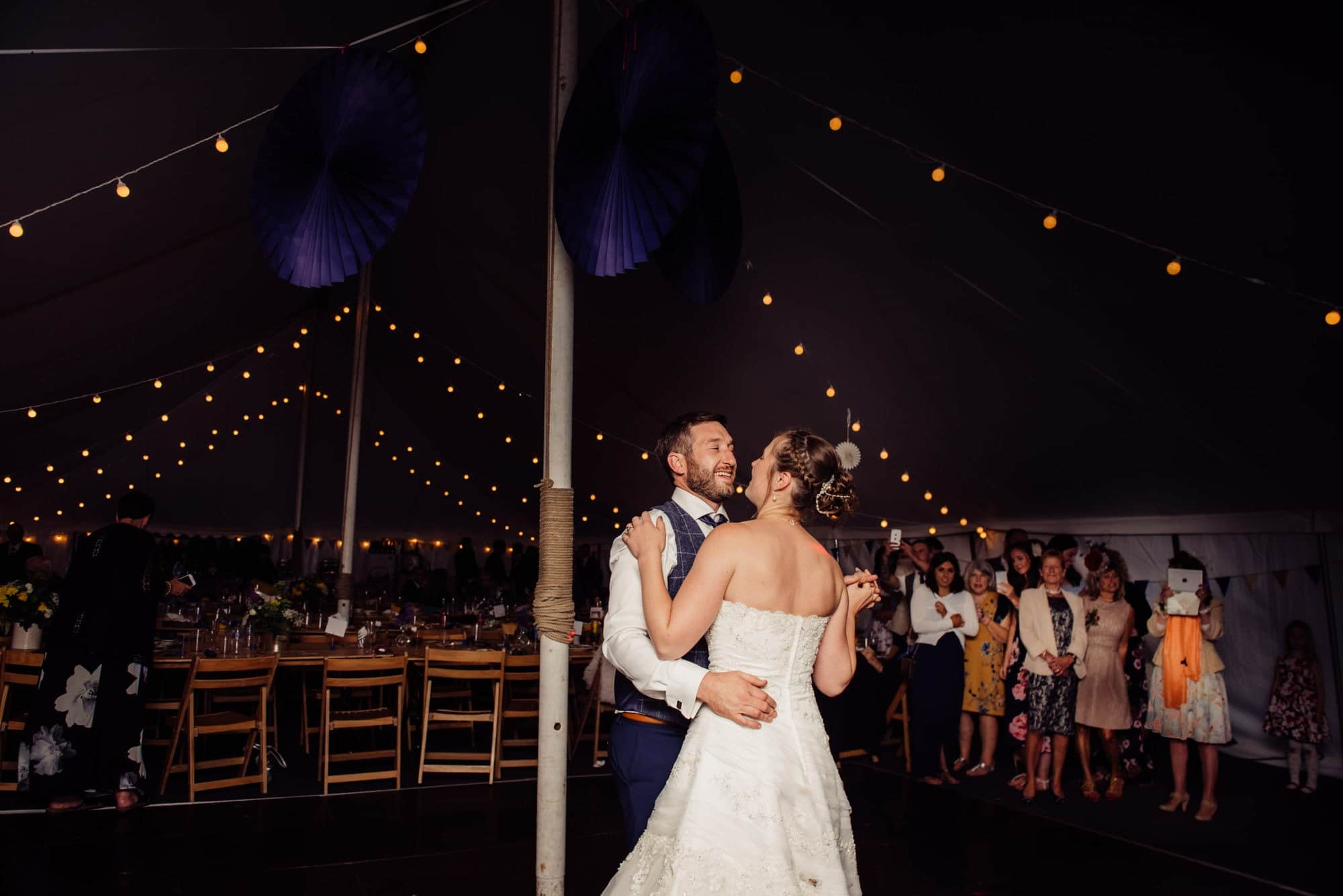 couple have first dance in a marquee wedding in Somerset Mells