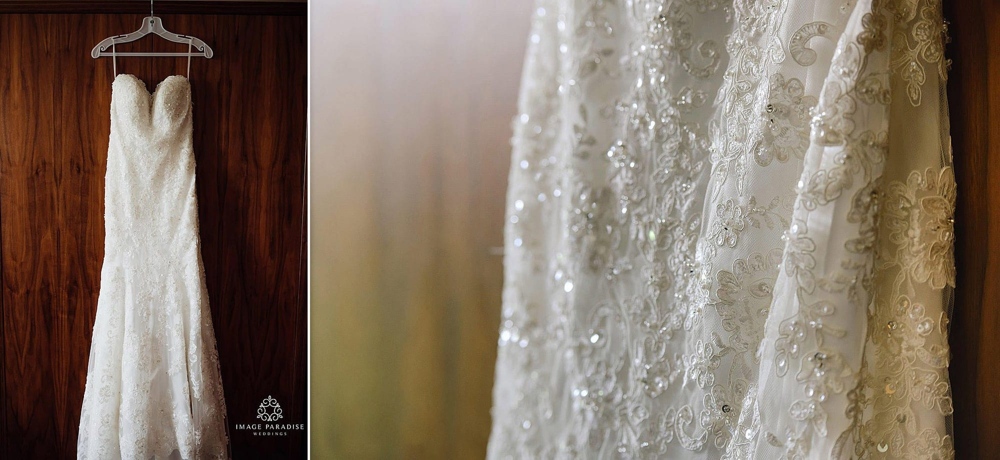 Wedding dress hanging in a bedroom of Cotswolds Hotel & Spa