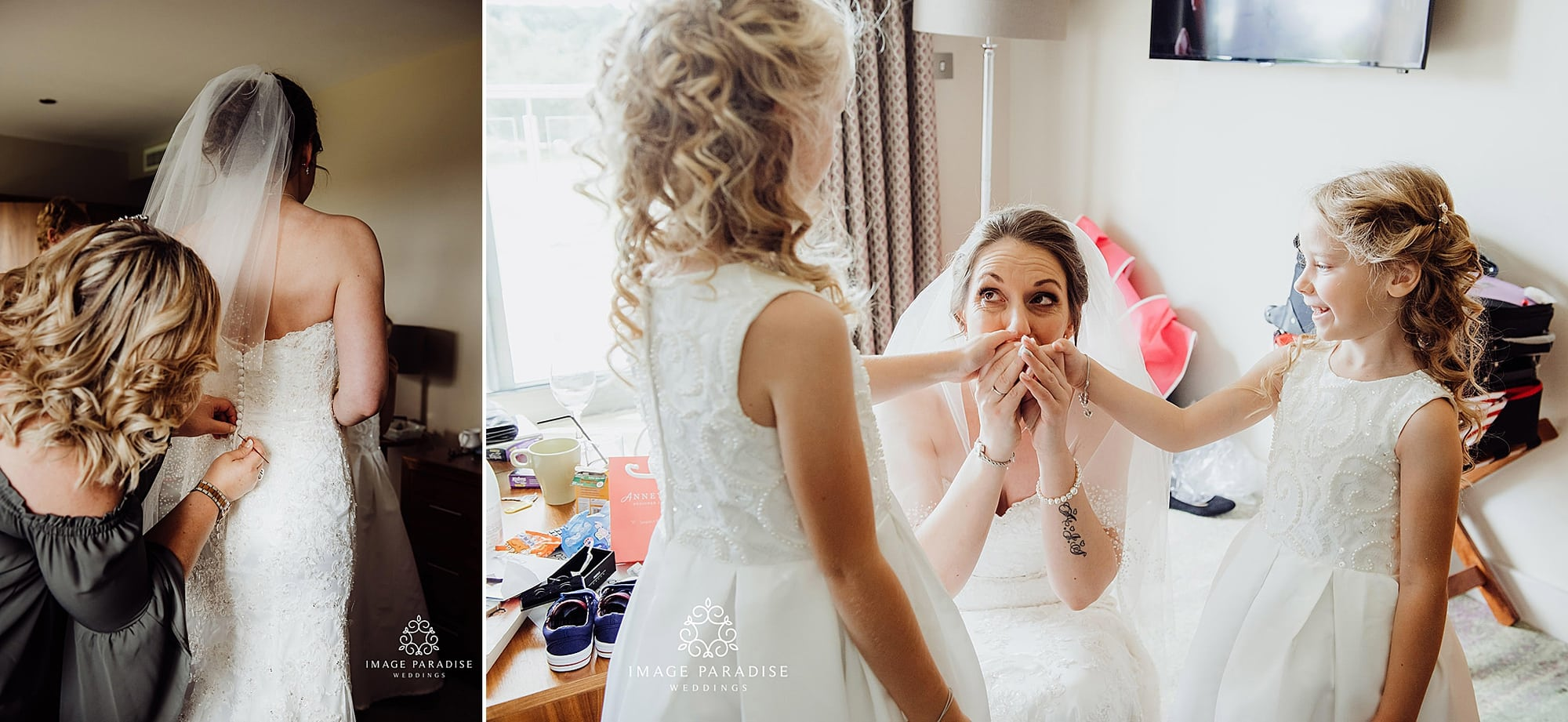 bride putting on her dress and getting ready with bridesmaids