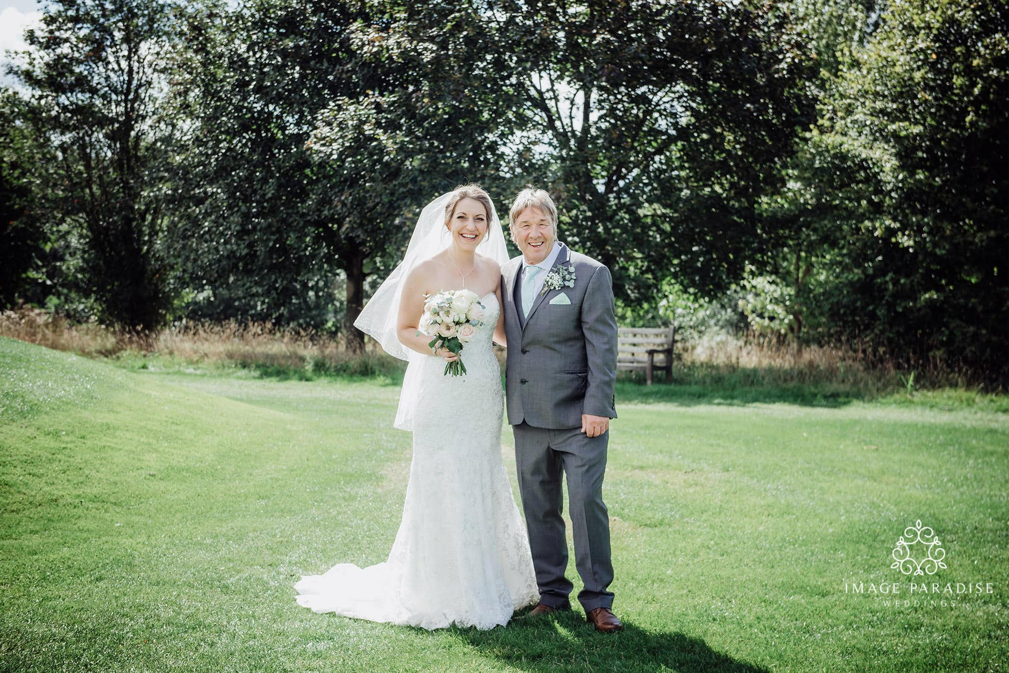 father and daughter family photo in the grounds of the Cotswolds hotel and spa wedding photography