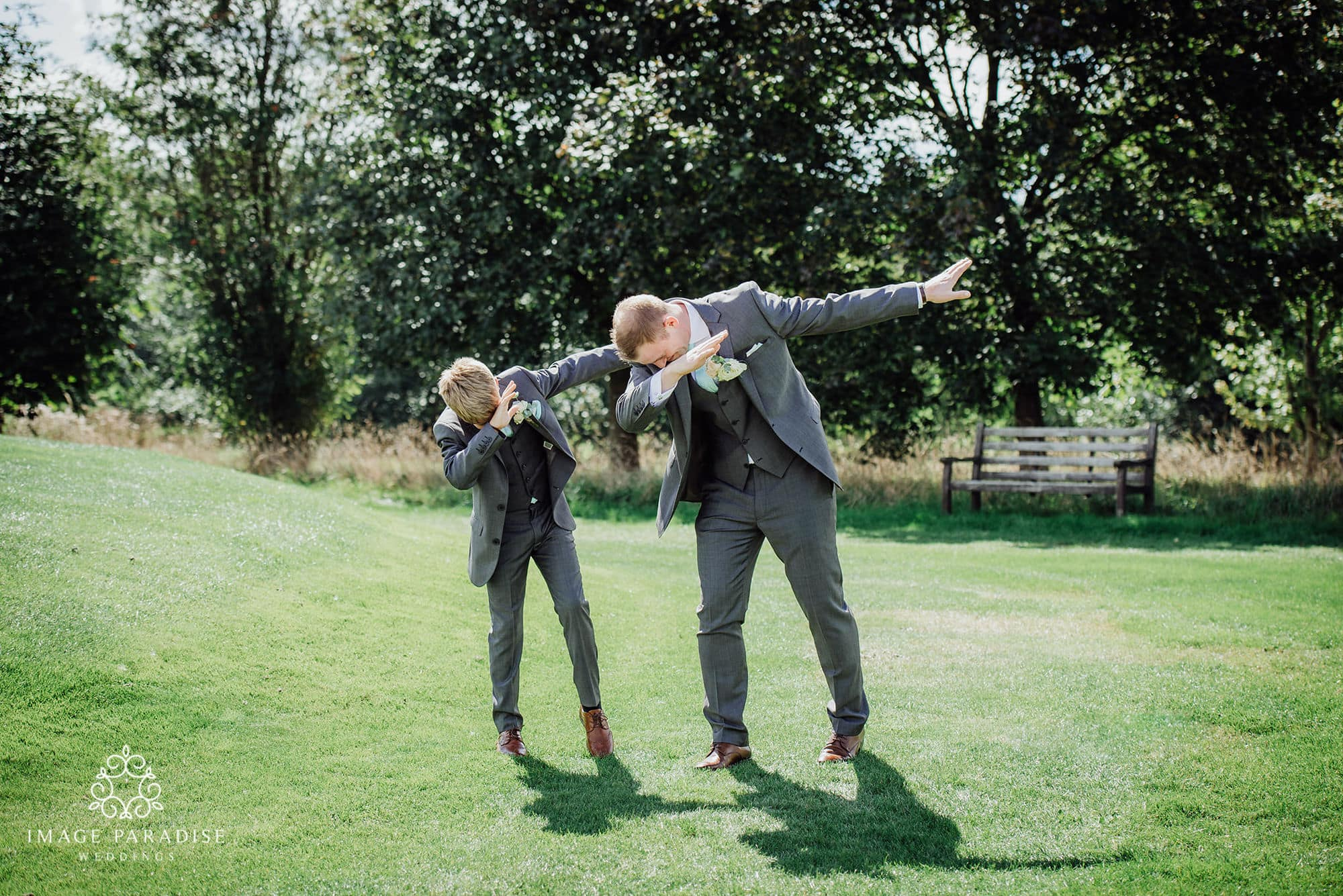 groom and son doing dabbing pose at the Cotswolds hotel and spa