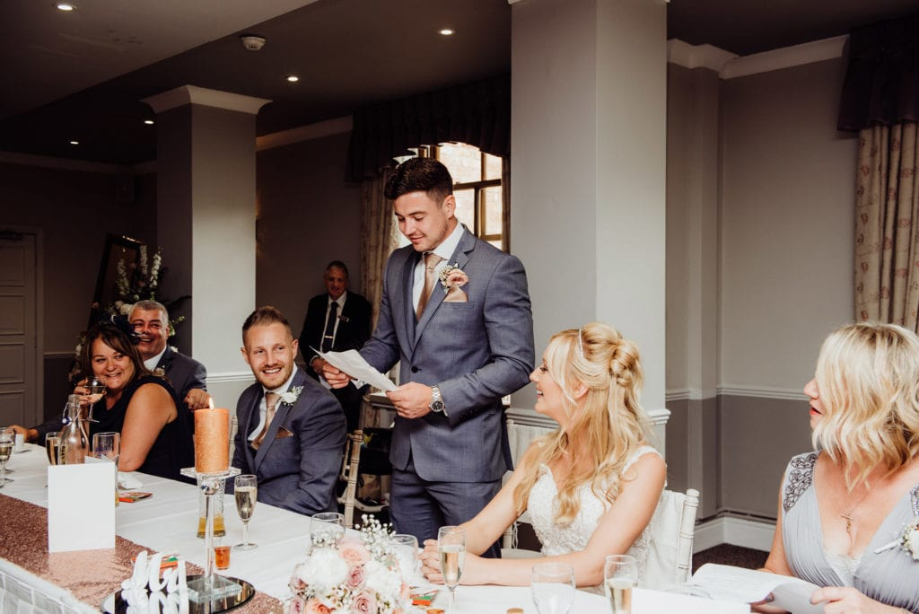 Groom reads out his speech at Hatherley Manor