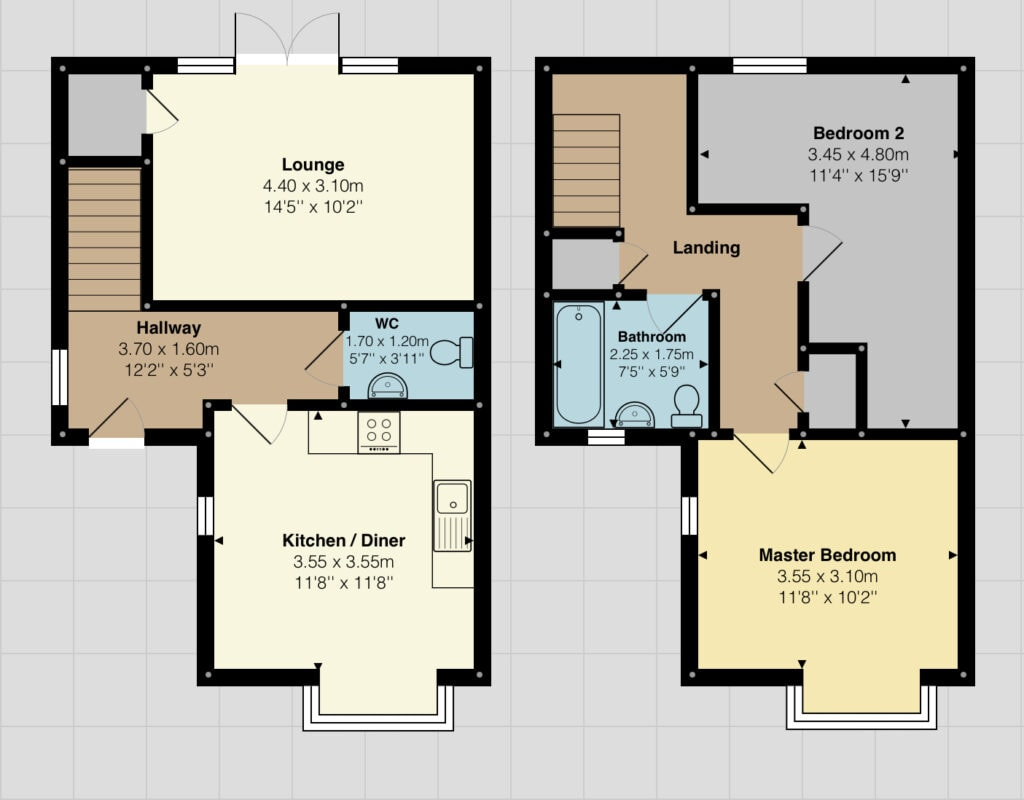 Coloured floor plan