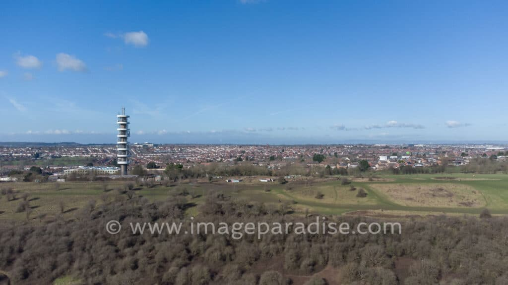 Aerial image with Purdown BT Tower in background